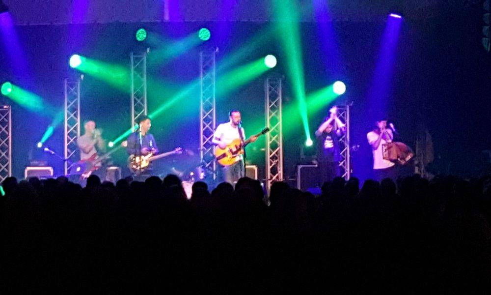 The band False Lights, on stage at Derby Folk Festival