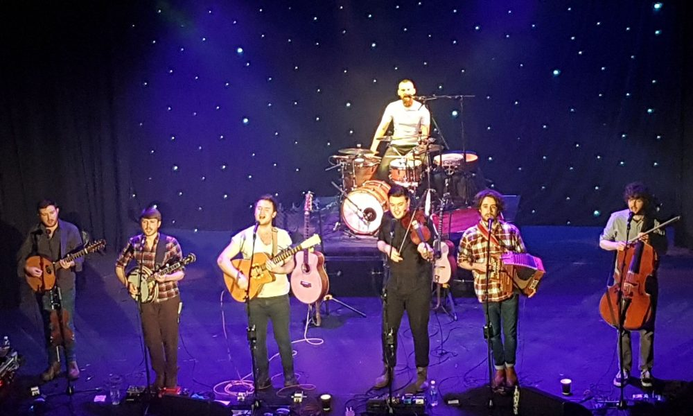 The band, Sam Kelly and The Lost Boys on stage in Derby Guildhall Theatre
