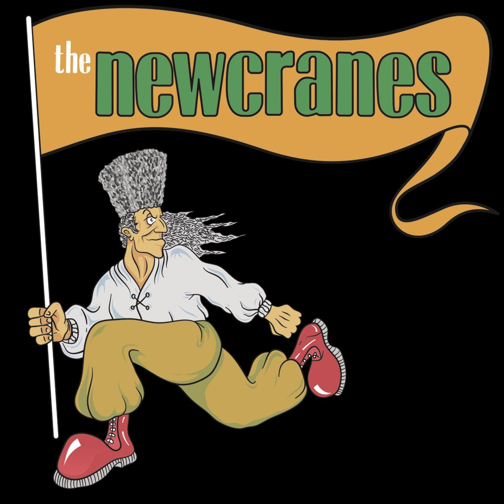 The Newcranes logo - cartoon cossack carrying a flag saying Newcranes