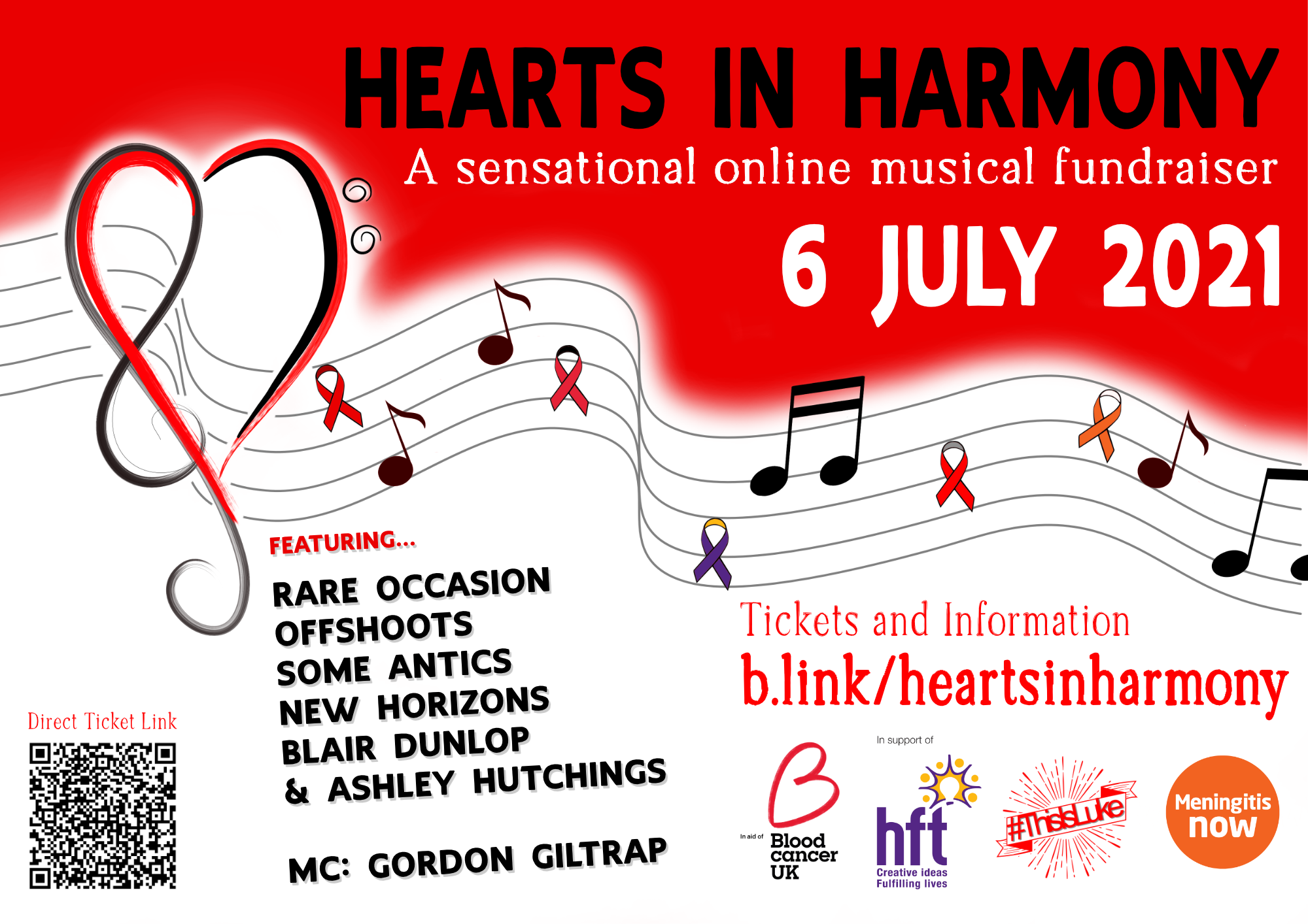 Hearts in Harmony Event poster with heart and music images.